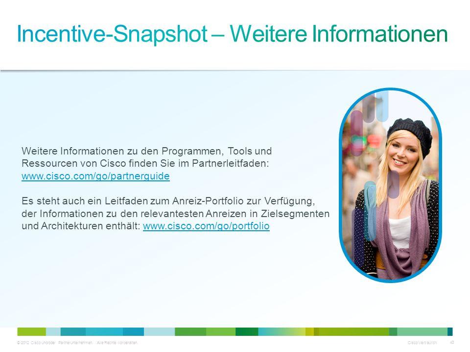 © 2012 Cisco und/oder Partnerunternehmen. Alle Rechte vorbehalten. Cisco Vertraulich 43 Weitere Informationen zu den Programmen, Tools und Ressourcen