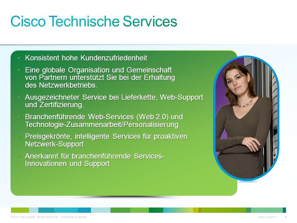 © 2012 Cisco und/oder Partnerunternehmen. Alle Rechte vorbehalten. Cisco Vertraulich 45 Konsistent hohe KundenzufriedenheitKonsistent hohe Kundenzufri