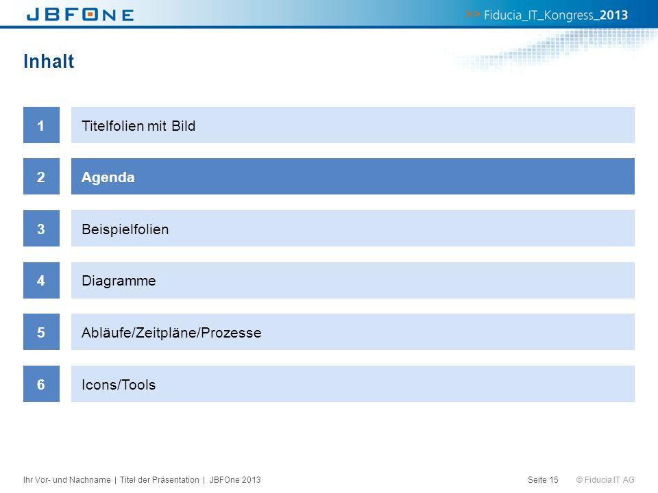 © Fiducia IT AG Inhalt Seite 15 1Titelfolien mit Bild 2Agenda 3Beispielfolien 4Diagramme 5Abläufe/Zeitpläne/Prozesse 6Icons/Tools Ihr Vor- und Nachnam