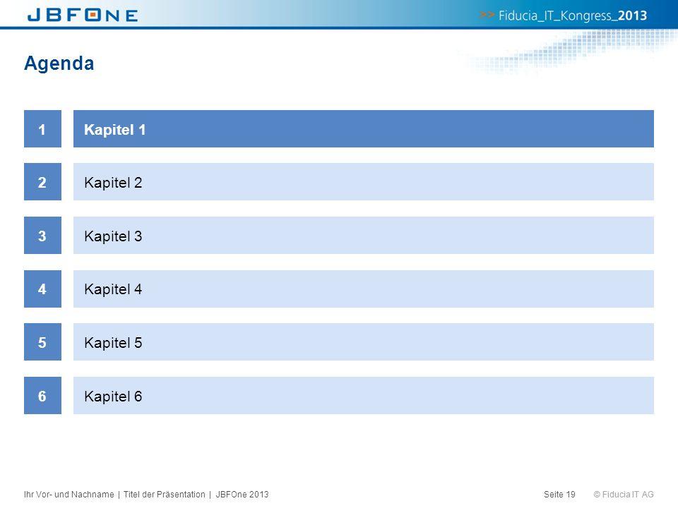 © Fiducia IT AG Agenda Seite 19 1Kapitel 1 2Kapitel 2 3Kapitel 3 4Kapitel 4 5Kapitel 5 6Kapitel 6 Ihr Vor- und Nachname | Titel der Präsentation | JBF