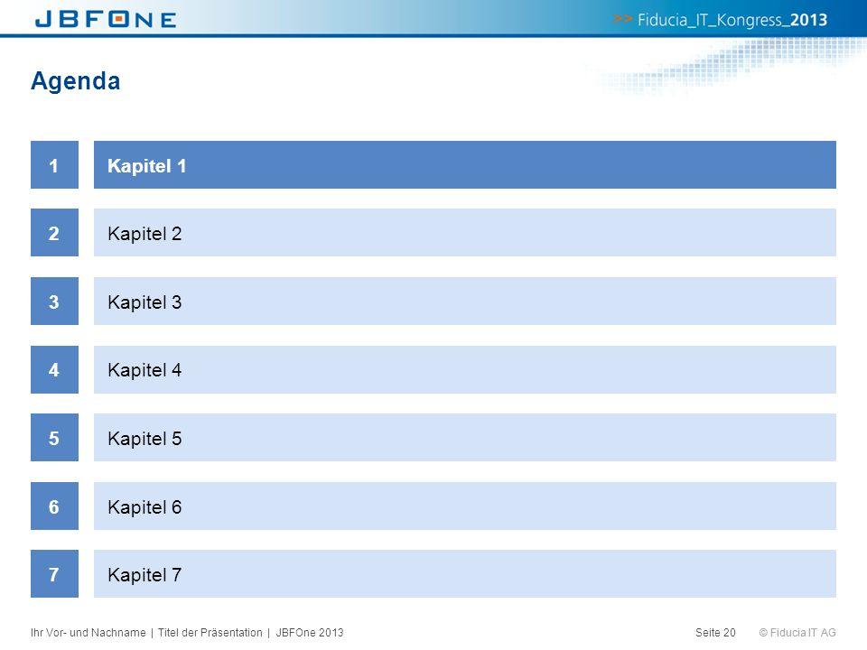 © Fiducia IT AG Agenda Seite 20 1Kapitel 1 2Kapitel 2 3Kapitel 3 4Kapitel 4 5Kapitel 5 6Kapitel 6 7Kapitel 7 Ihr Vor- und Nachname | Titel der Präsent