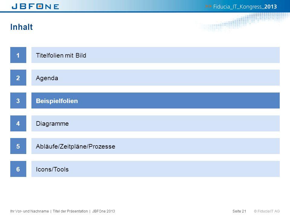 © Fiducia IT AG Inhalt Seite 21 1Titelfolien mit Bild 2Agenda 3Beispielfolien 4Diagramme 5Abläufe/Zeitpläne/Prozesse 6Icons/Tools Ihr Vor- und Nachnam