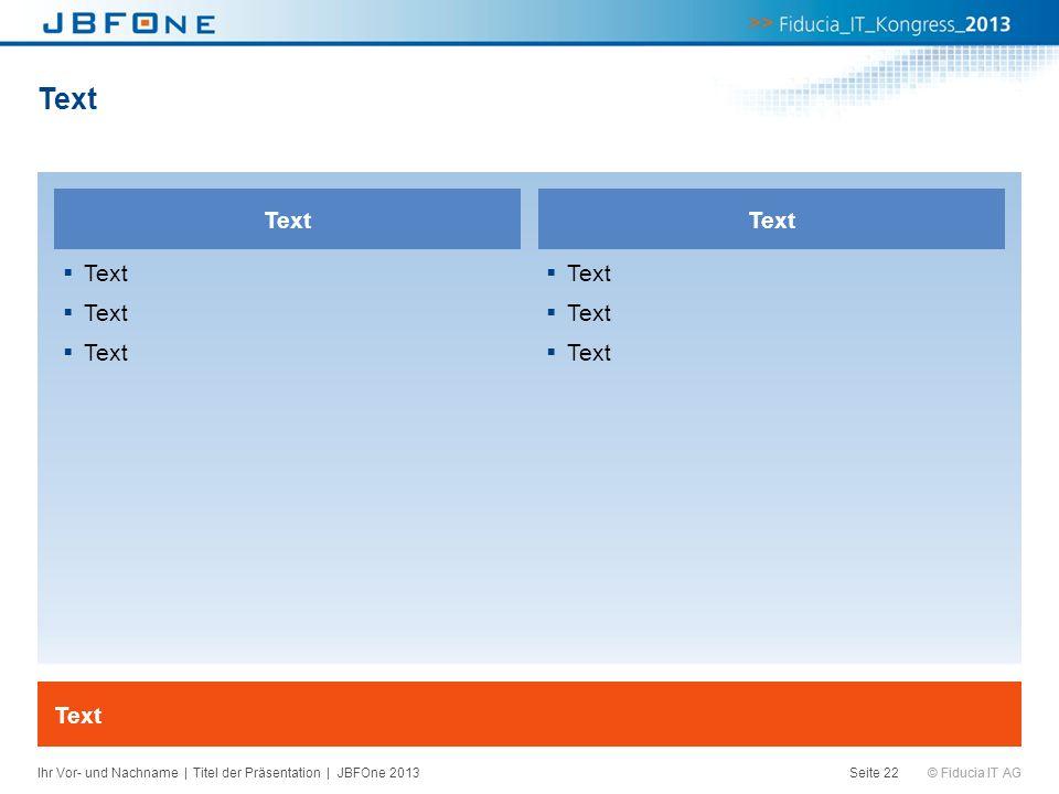 © Fiducia IT AG Text Seite 22 Text Ihr Vor- und Nachname | Titel der Präsentation | JBFOne 2013