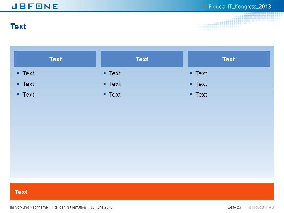 © Fiducia IT AG Text Seite 23 Text Ihr Vor- und Nachname | Titel der Präsentation | JBFOne 2013