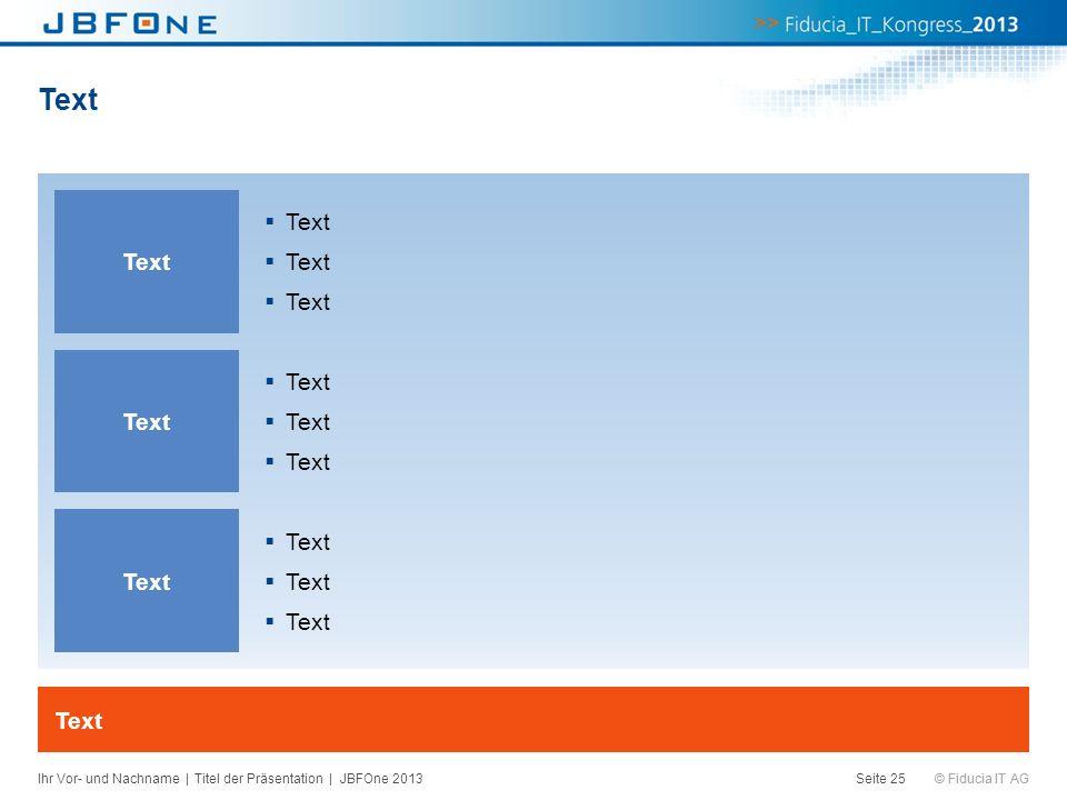 © Fiducia IT AG Text Seite 25 Text Ihr Vor- und Nachname | Titel der Präsentation | JBFOne 2013