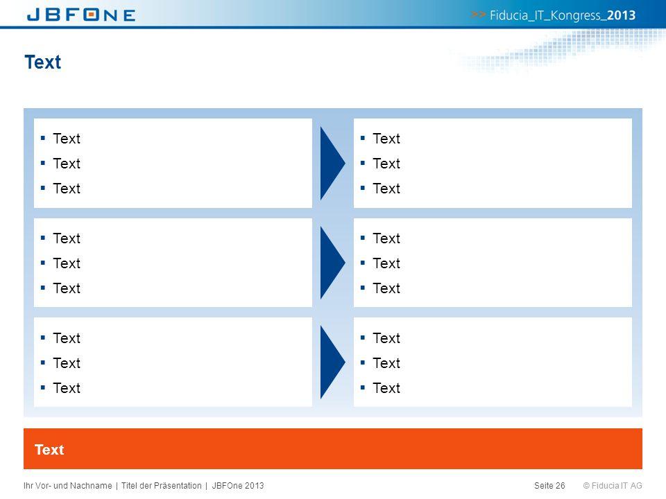© Fiducia IT AG Text Seite 26 Text Ihr Vor- und Nachname | Titel der Präsentation | JBFOne 2013