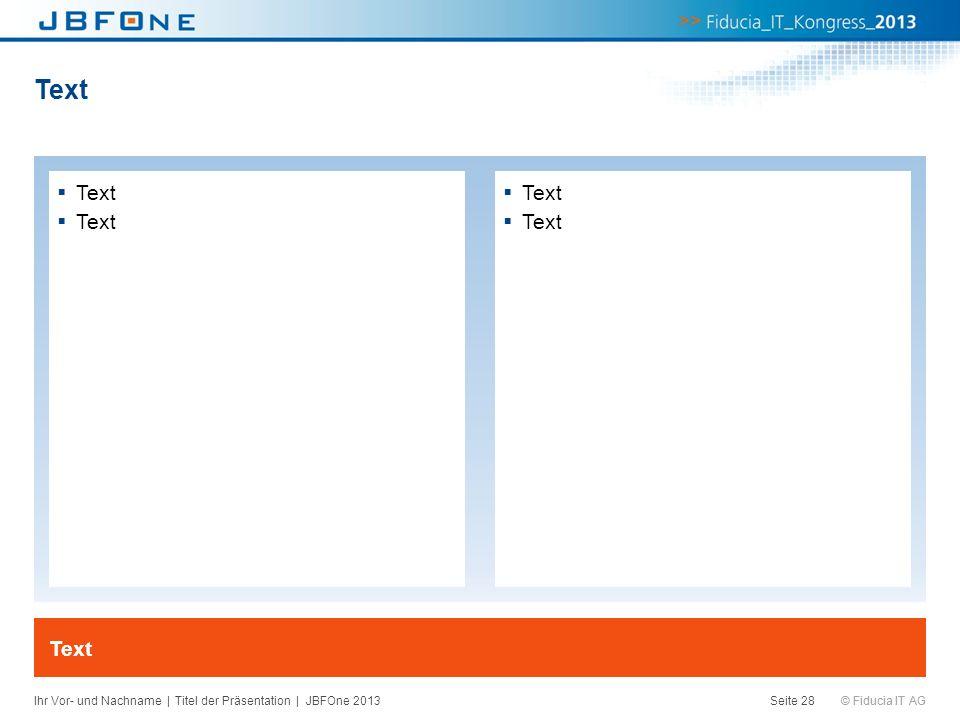 © Fiducia IT AG Text Seite 28 Text Ihr Vor- und Nachname | Titel der Präsentation | JBFOne 2013
