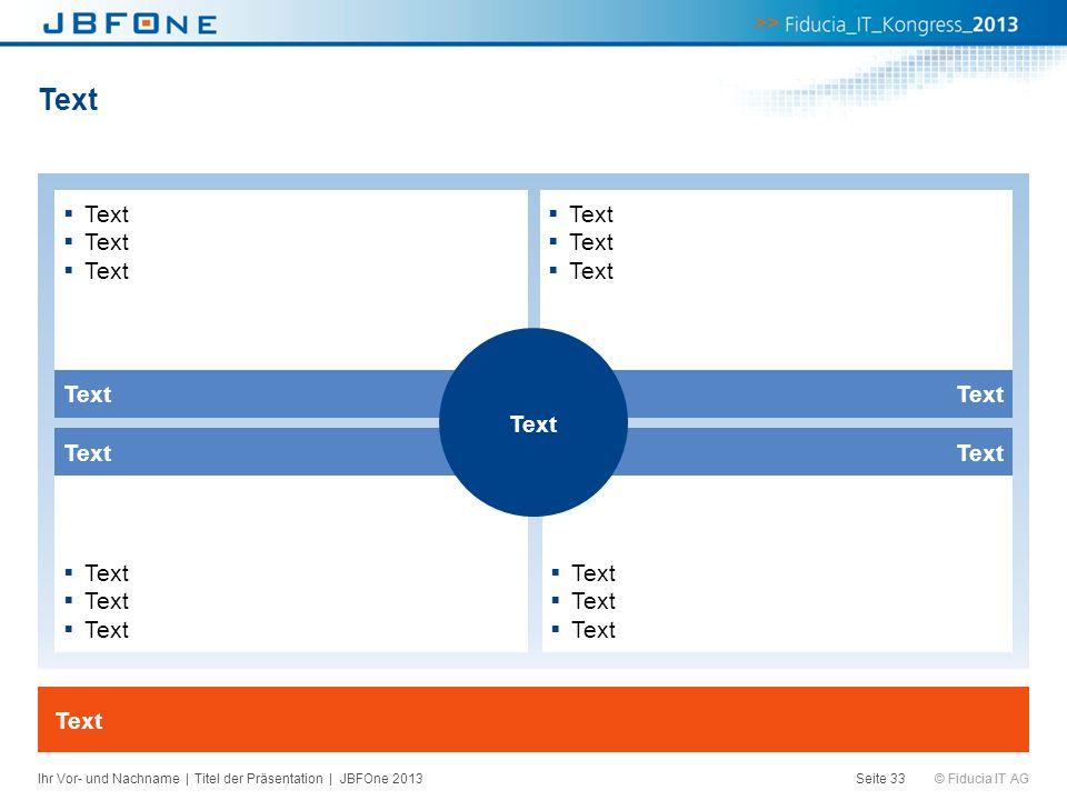© Fiducia IT AG Text Seite 33 Text Ihr Vor- und Nachname | Titel der Präsentation | JBFOne 2013