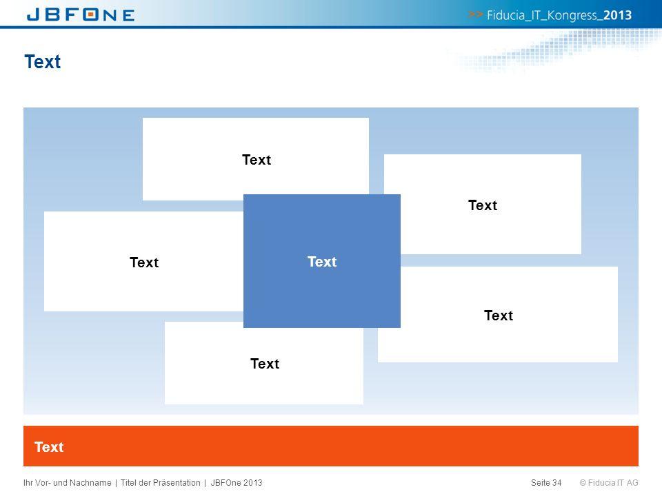 © Fiducia IT AG Text Seite 34 Text Ihr Vor- und Nachname | Titel der Präsentation | JBFOne 2013