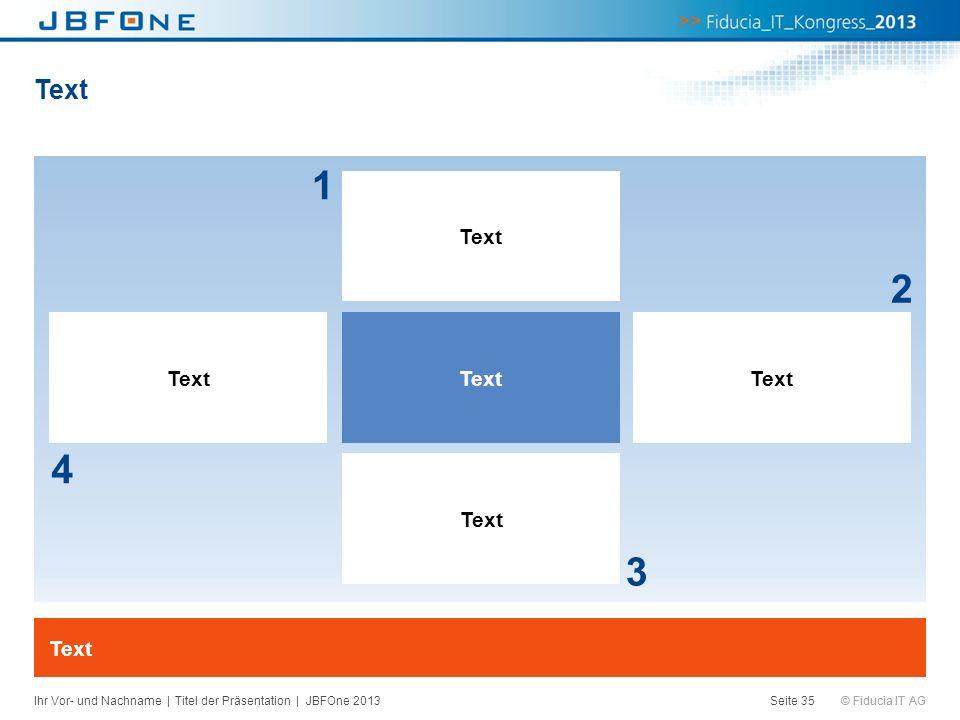 © Fiducia IT AG Text Seite 35 4 2 Text 3 1 Ihr Vor- und Nachname | Titel der Präsentation | JBFOne 2013