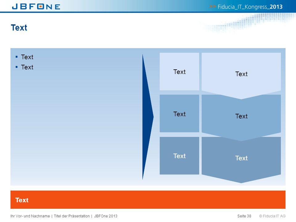 © Fiducia IT AG Text Seite 38 Text Ihr Vor- und Nachname | Titel der Präsentation | JBFOne 2013