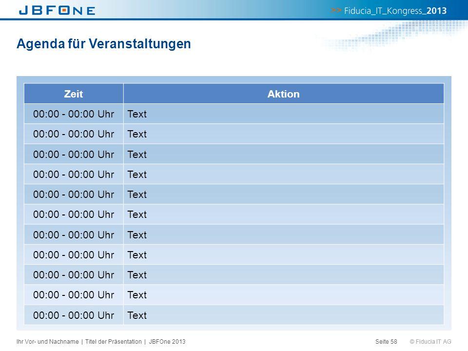 © Fiducia IT AG Agenda für Veranstaltungen Seite 58 ZeitAktion 00:00 - 00:00 UhrText 00:00 - 00:00 UhrText 00:00 - 00:00 UhrText 00:00 - 00:00 UhrText