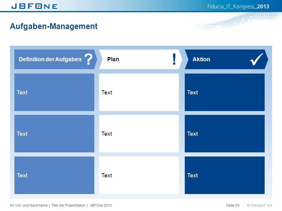 © Fiducia IT AG Aufgaben-Management Seite 59 Definition der AufgabenPlan ?! Aktion Text Ihr Vor- und Nachname | Titel der Präsentation | JBFOne 2013