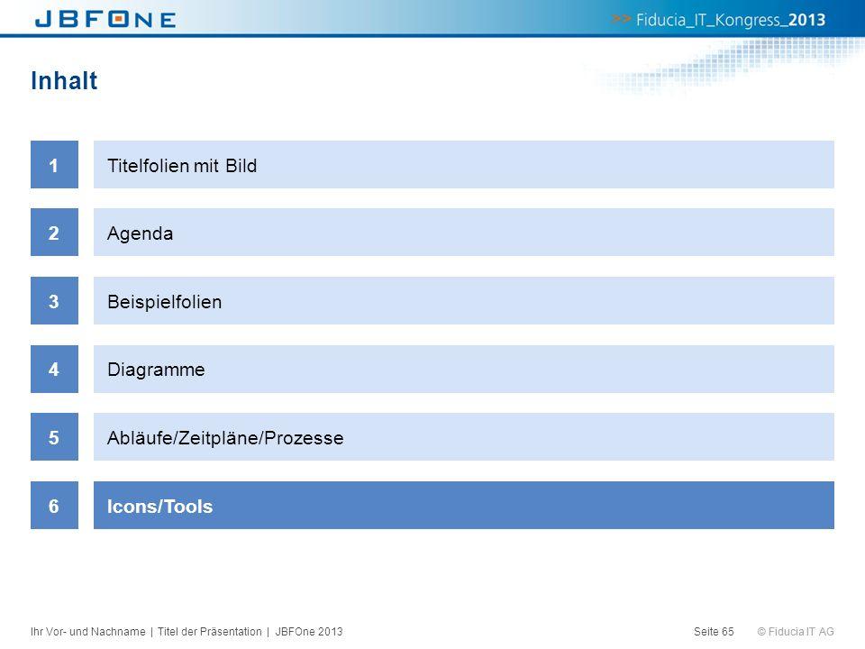 © Fiducia IT AG Inhalt Seite 65 1Titelfolien mit Bild 2Agenda 3Beispielfolien 4Diagramme 5Abläufe/Zeitpläne/Prozesse 6Icons/Tools Ihr Vor- und Nachnam