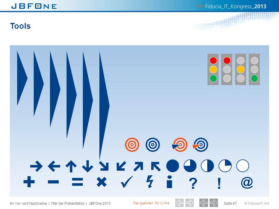 © Fiducia IT AG Tools Seite 67 ?! @ Navigatoren für Links Ihr Vor- und Nachname | Titel der Präsentation | JBFOne 2013