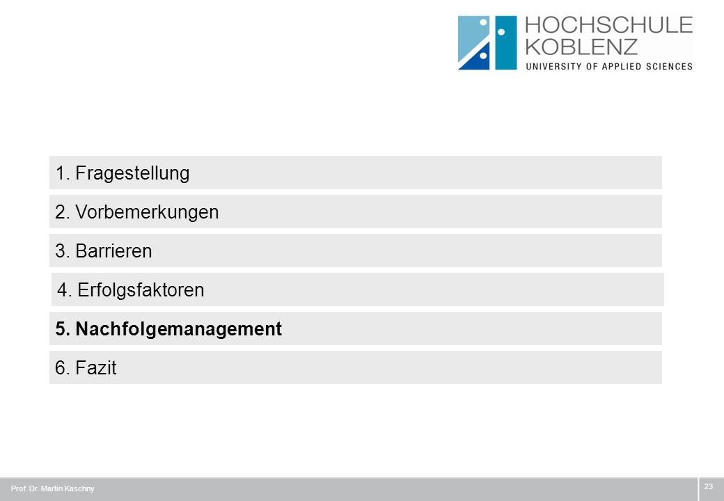 23 1. Fragestellung 3. Barrieren 4. Erfolgsfaktoren 2. Vorbemerkungen 6. Fazit Prof. Dr. Martin Kaschny 5. Nachfolgemanagement