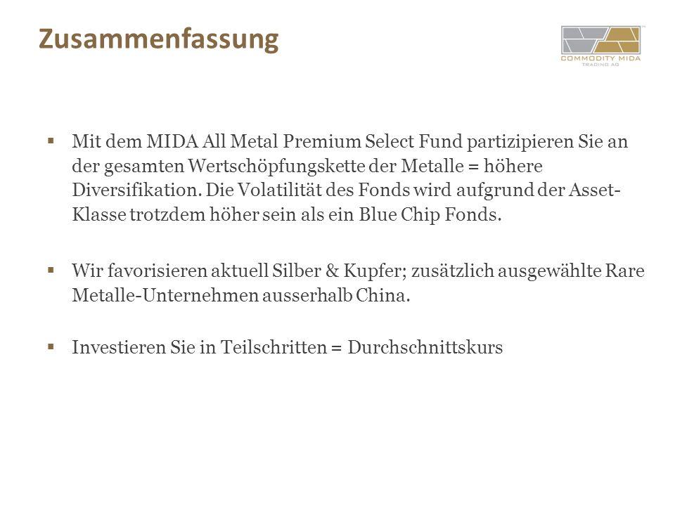 Zusammenfassung Mit dem MIDA All Metal Premium Select Fund partizipieren Sie an der gesamten Wertschöpfungskette der Metalle = höhere Diversifikation.
