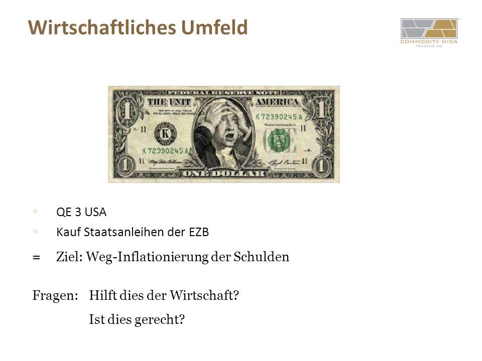 Wirtschaftliches Umfeld QE 3 USA Kauf Staatsanleihen der EZB = Ziel: Weg-Inflationierung der Schulden Fragen: Hilft dies der Wirtschaft? Ist dies gere