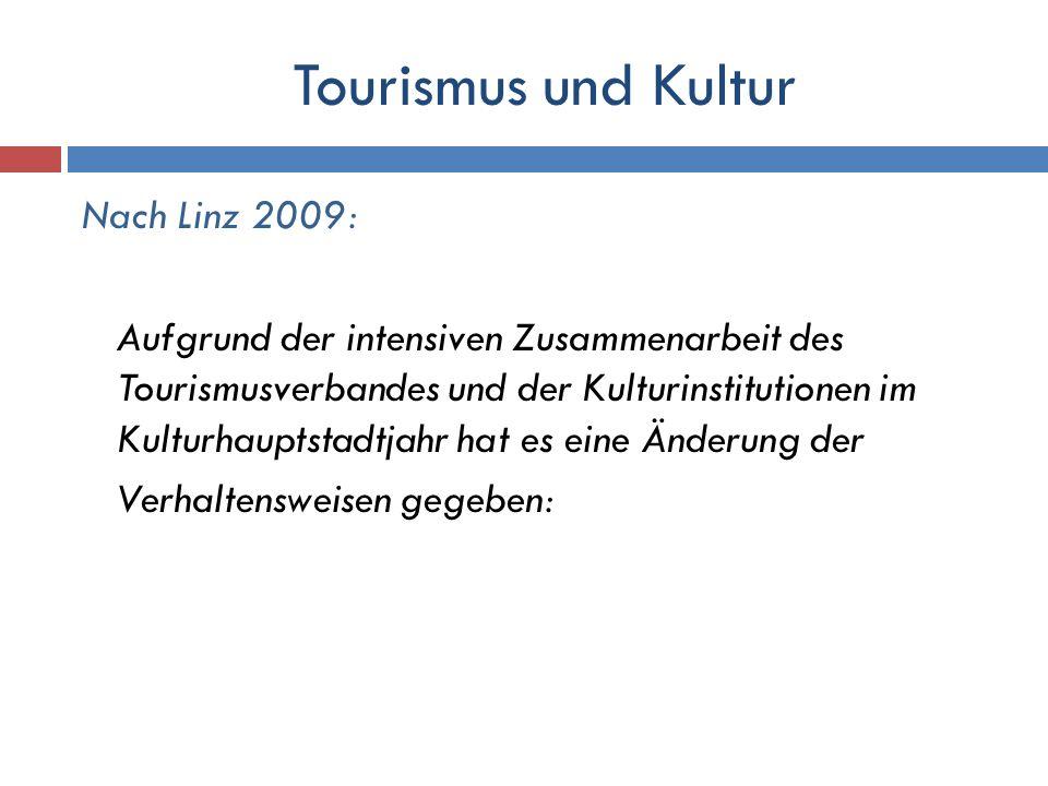Tourismus und Kultur Nach Linz 2009: Aufgrund der intensiven Zusammenarbeit des Tourismusverbandes und der Kulturinstitutionen im Kulturhauptstadtjahr