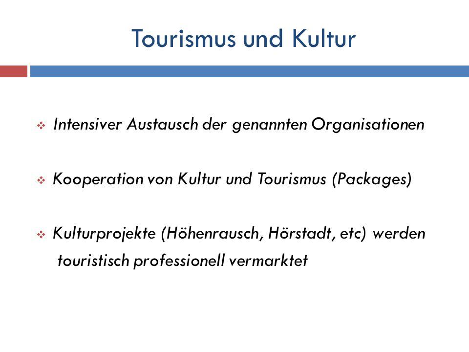 Tourismus und Kultur Intensiver Austausch der genannten Organisationen Kooperation von Kultur und Tourismus (Packages) Kulturprojekte (Höhenrausch, Hö