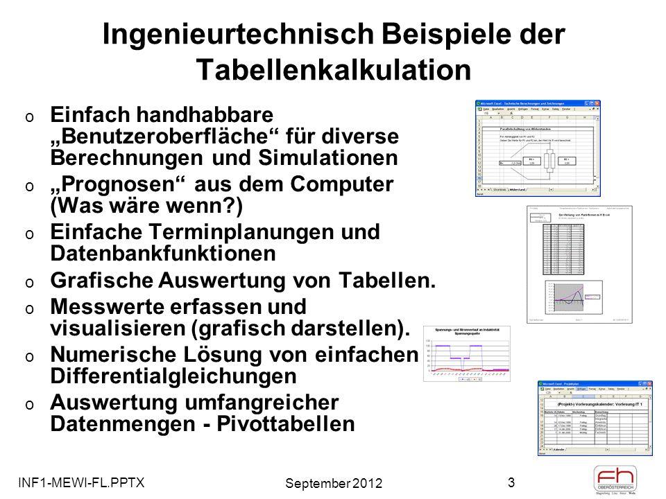 INF1-MEWI-FL.PPTX September 2012 4 Die Verwendung von Funktionen zum Berechnen von Werten Funktionen sind vordefinierte, direkt ausführbare Formeln, die Berechnungen unter Verwendung bestimmter Werte, der so genannten Argumente, in einer bestimmten Reihenfolge ausführen.