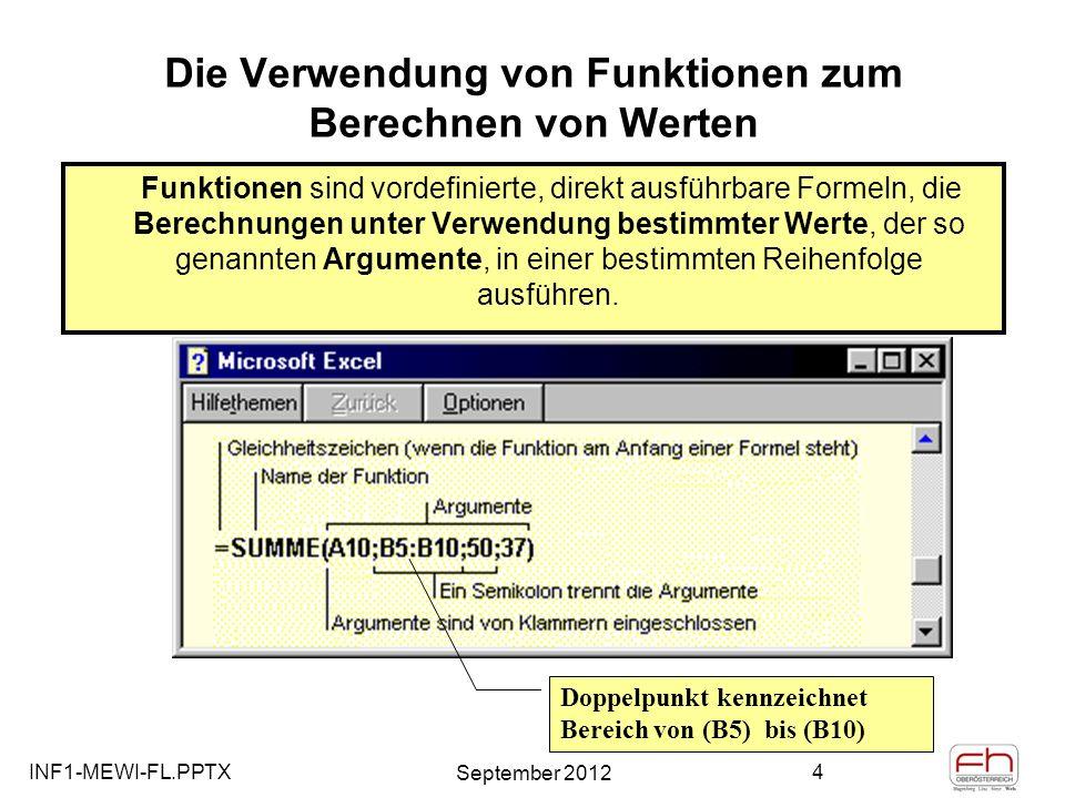 INF1-MEWI-FL.PPTX September 2012 5 Die Verwendung von Funktionen zum Berechnen von Werten o Schreibweise der Funktionen muss streng gewissen Anforderungen entsprechen: Syntax genannt, o Als Argumente können Zahlen, Text, Wahrheitswerte (WAHR und FALSCH), Matrizen, Fehlerwerte (beispielsweise #NV) oder Zellbezüge verwendet werden.