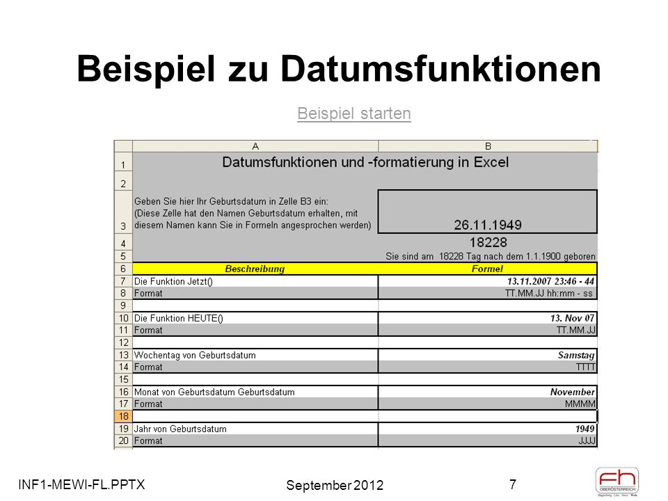 INF1-MEWI-FL.PPTX September 2012 8 Datumsfunktionen - Projektplanung (Terminplanung) Formel: =B16 Datum Formatiert als Text : Format / Zelle / Zahl / Benutzerdefiniert / TTTT Datum Formatiert als Text : Format / Zelle / Zahl / Benutzerdefiniert / TT.MM.JJJJ Formel: =B19+A19 Eingabewert