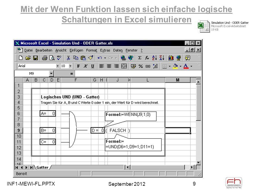 INF1-MEWI-FL.PPTX September 2012 40 Einfache Datenbankfunktionen in Excel und Pivot Tabellen Umfangreiches Datenmaterial systematisch erfassen, verwalten, sortieren, anzeigen, filtern, auswerten,…