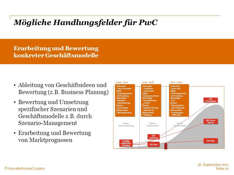 PricewaterhouseCoopers Mögliche Handlungsfelder für PwC Erarbeitung und Bewertung konkreter Geschäftsmodelle Ableitung von Geschäftsideen und Bewertun