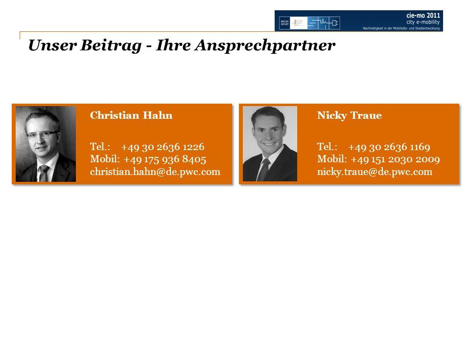 Unser Beitrag - Ihre Ansprechpartner Nicky Traue Tel.: +49 30 2636 1169 Mobil: +49 151 2030 2009 nicky.traue@de.pwc.com Christian Hahn Tel.: +49 30 26