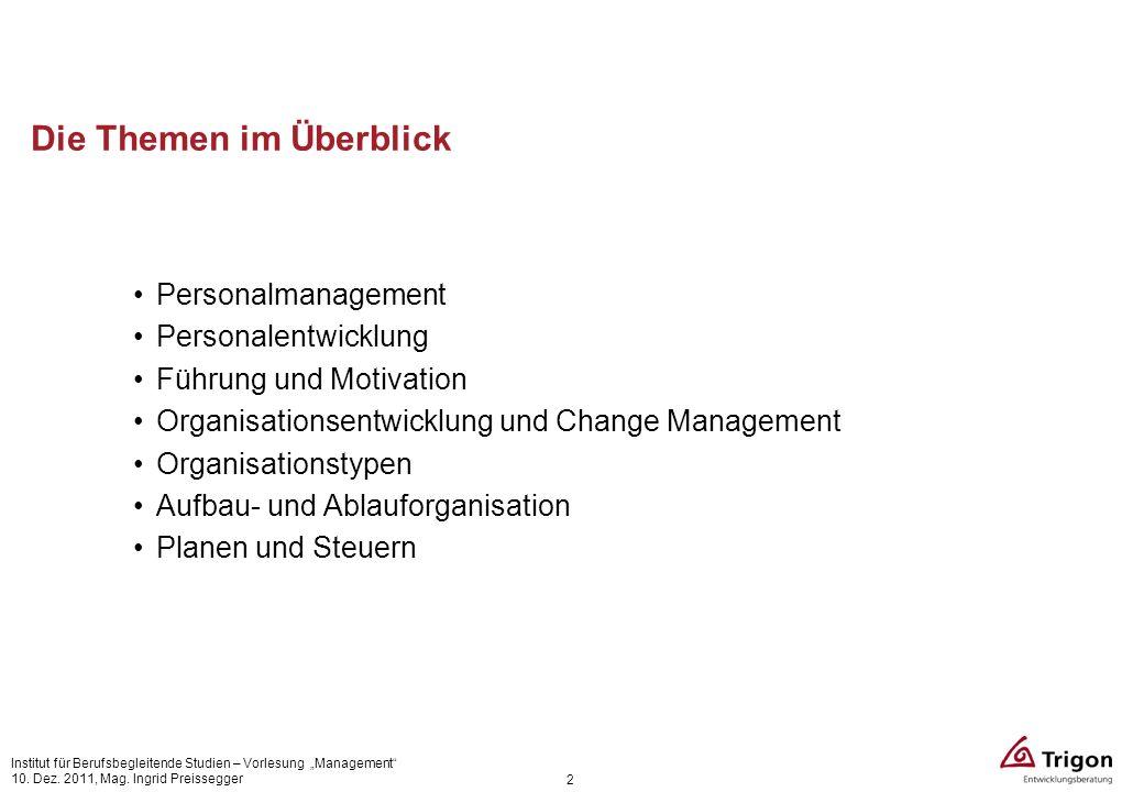 Die Themen im Überblick Personalmanagement Personalentwicklung Führung und Motivation Organisationsentwicklung und Change Management Organisationstype