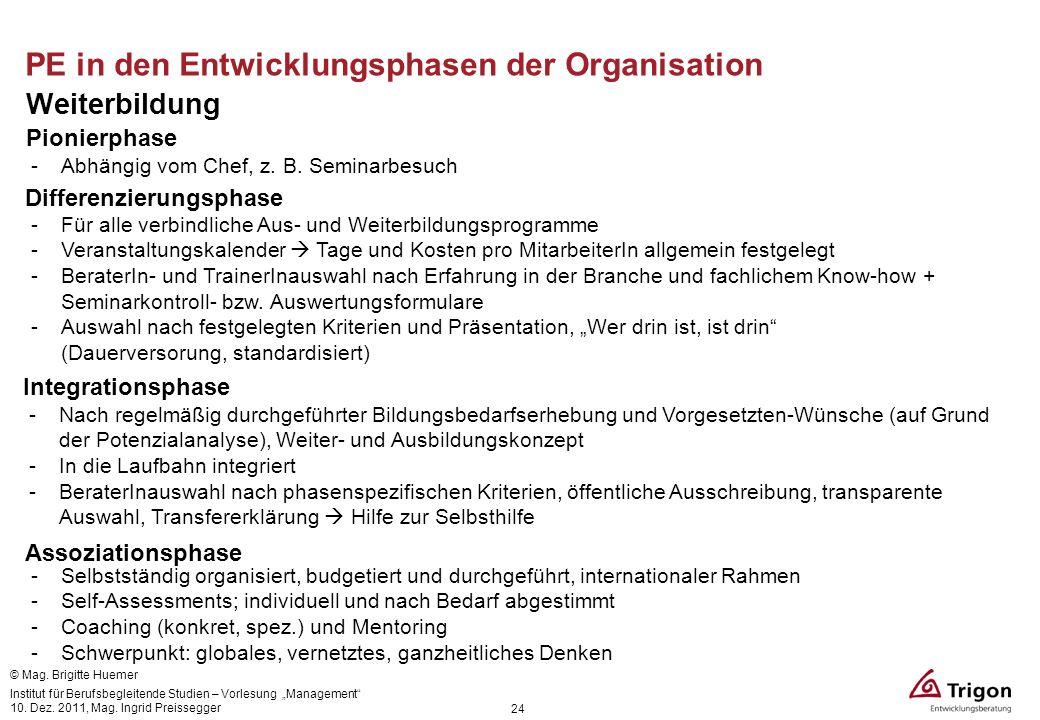 24 PE in den Entwicklungsphasen der Organisation Weiterbildung Pionierphase -Abhängig vom Chef, z. B. Seminarbesuch Differenzierungsphase -Für alle ve