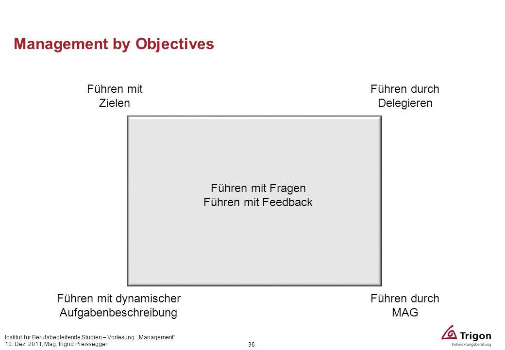 Management by Objectives 36 Führen durch Delegieren Führen mit Zielen Führen mit dynamischer Aufgabenbeschreibung Führen durch MAG Führen mit Fragen F