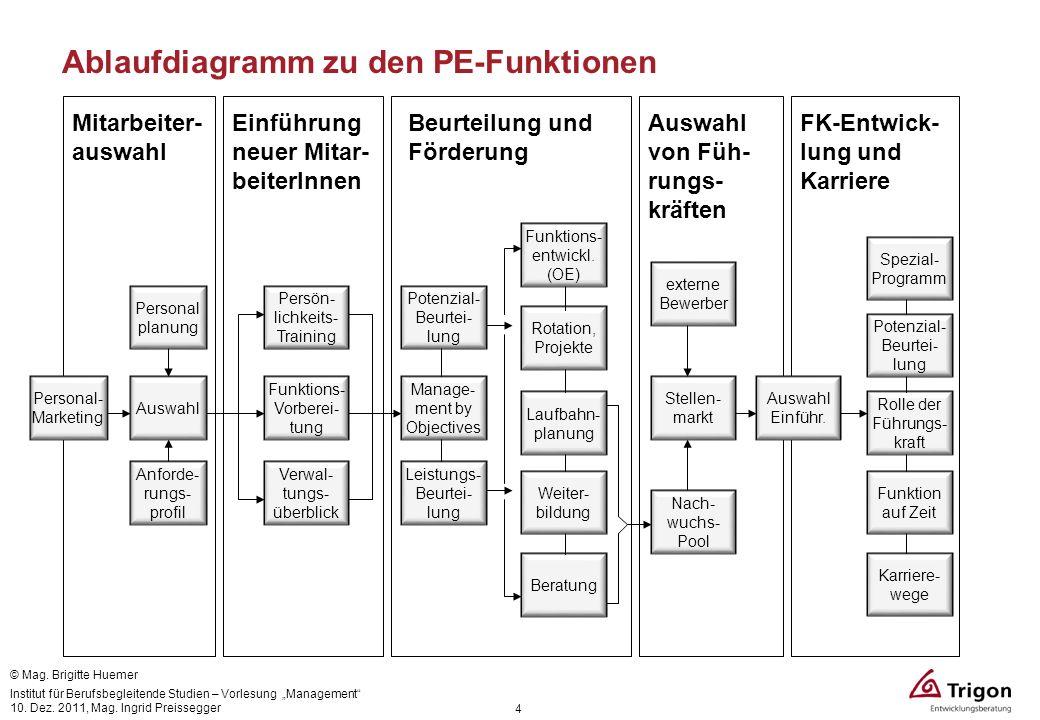 4 Ablaufdiagramm zu den PE-Funktionen Mitarbeiter- auswahl Einführung neuer Mitar- beiterInnen Beurteilung und Förderung Auswahl von Füh- rungs- kräft