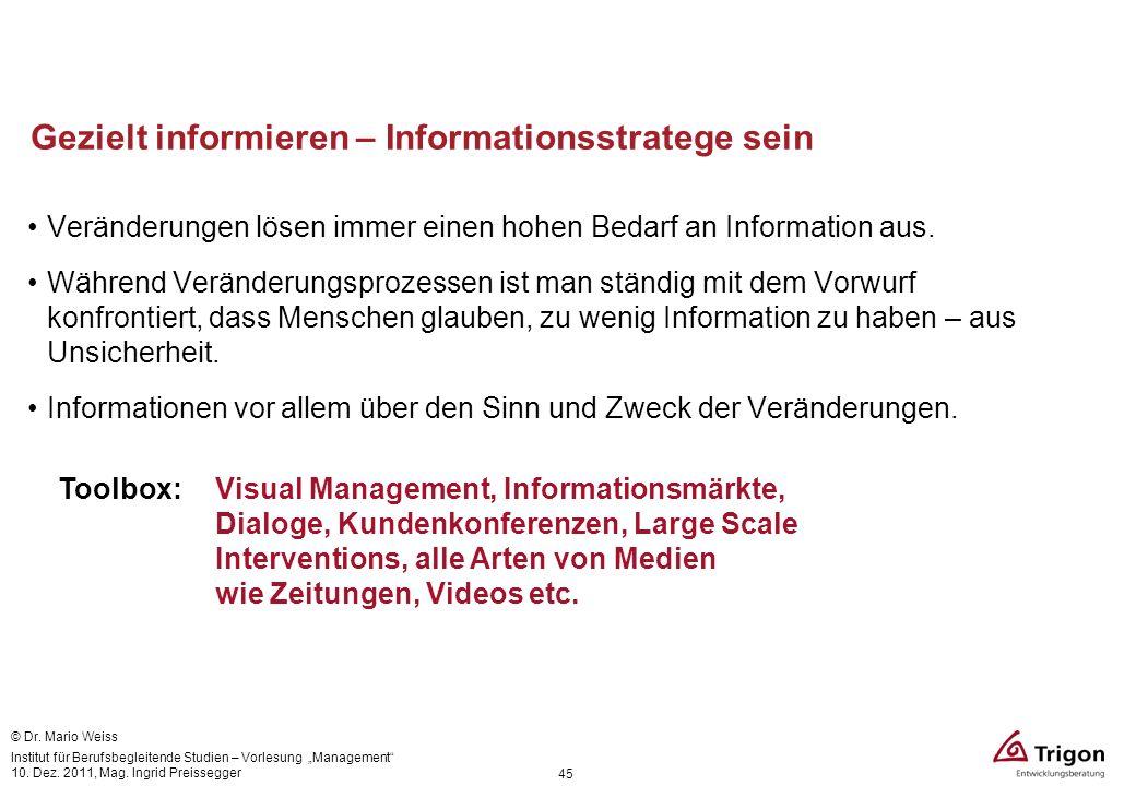 Gezielt informieren – Informationsstratege sein Veränderungen lösen immer einen hohen Bedarf an Information aus. Während Veränderungsprozessen ist man
