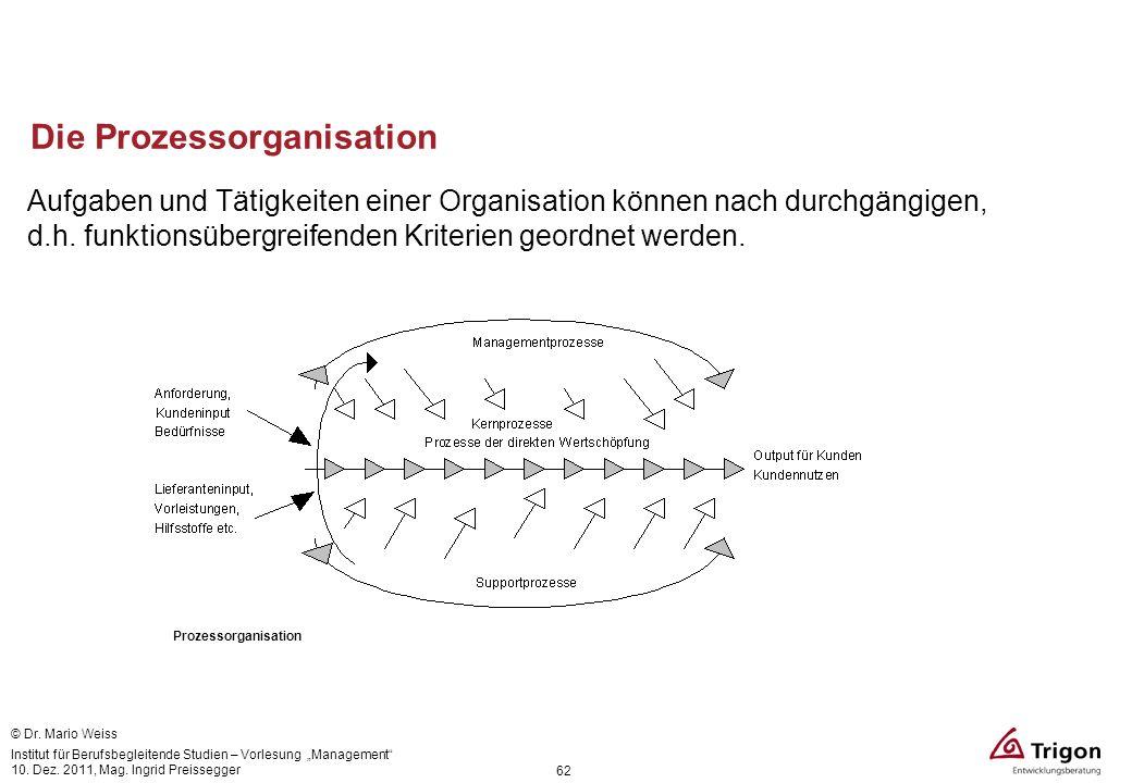 Die Prozessorganisation Aufgaben und Tätigkeiten einer Organisation können nach durchgängigen, d.h. funktionsübergreifenden Kriterien geordnet werden.