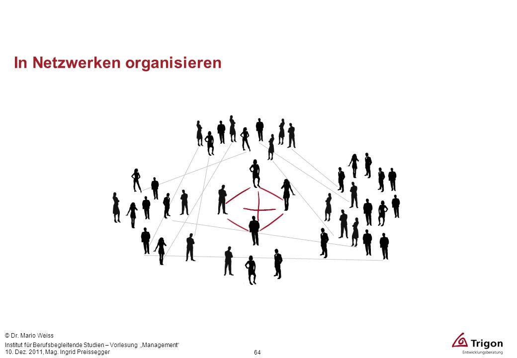 In Netzwerken organisieren 64 © Dr. Mario Weiss Institut für Berufsbegleitende Studien – Vorlesung Management 10. Dez. 2011, Mag. Ingrid Preissegger