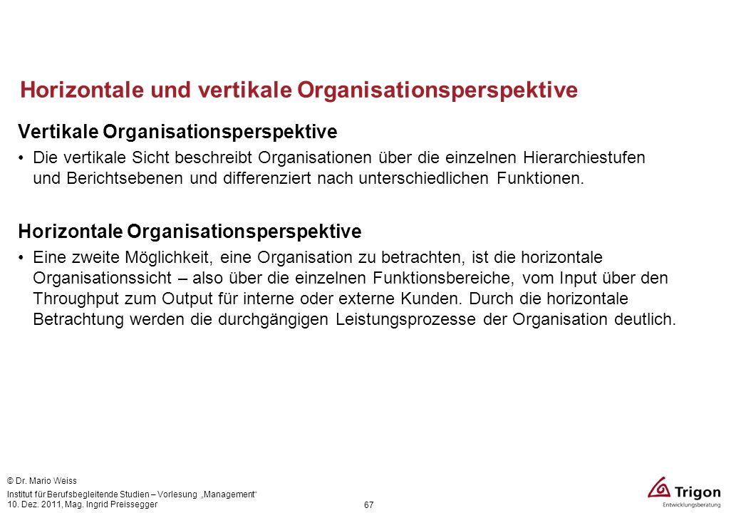 Horizontale und vertikale Organisationsperspektive Vertikale Organisationsperspektive Die vertikale Sicht beschreibt Organisationen über die einzelnen
