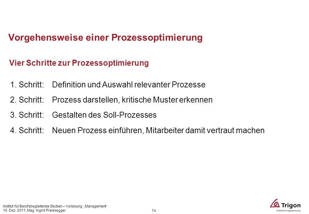 74 Vorgehensweise einer Prozessoptimierung Vier Schritte zur Prozessoptimierung 1. Schritt: Definition und Auswahl relevanter Prozesse 2. Schritt: Pro