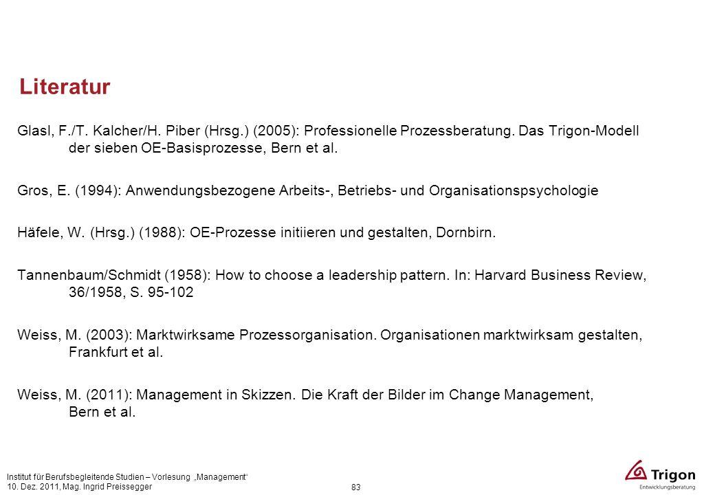 Literatur Glasl, F./T. Kalcher/H. Piber (Hrsg.) (2005): Professionelle Prozessberatung. Das Trigon-Modell der sieben OE-Basisprozesse, Bern et al. Gro