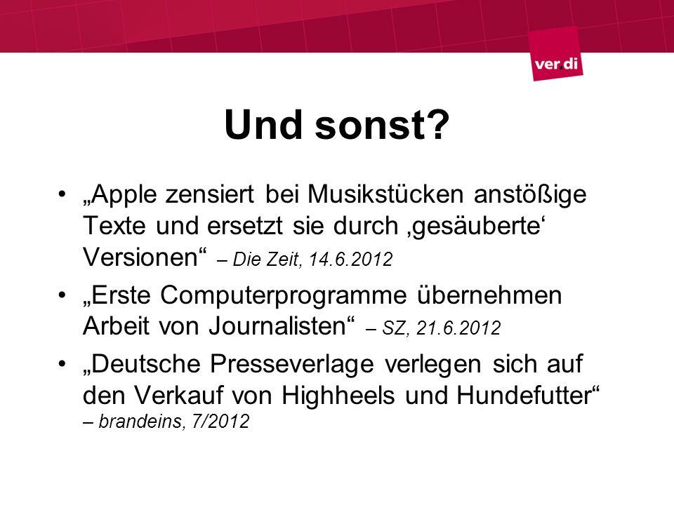 Und sonst? Apple zensiert bei Musikstücken anstößige Texte und ersetzt sie durch gesäuberte Versionen – Die Zeit, 14.6.2012 Erste Computerprogramme üb