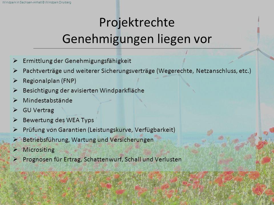 Windpark in Sachsen-Anhalt © Windpark Druiberg Projektrechte Genehmigungen liegen vor Ermittlung der Genehmigungsfähigkeit Pachtverträge und weiterer