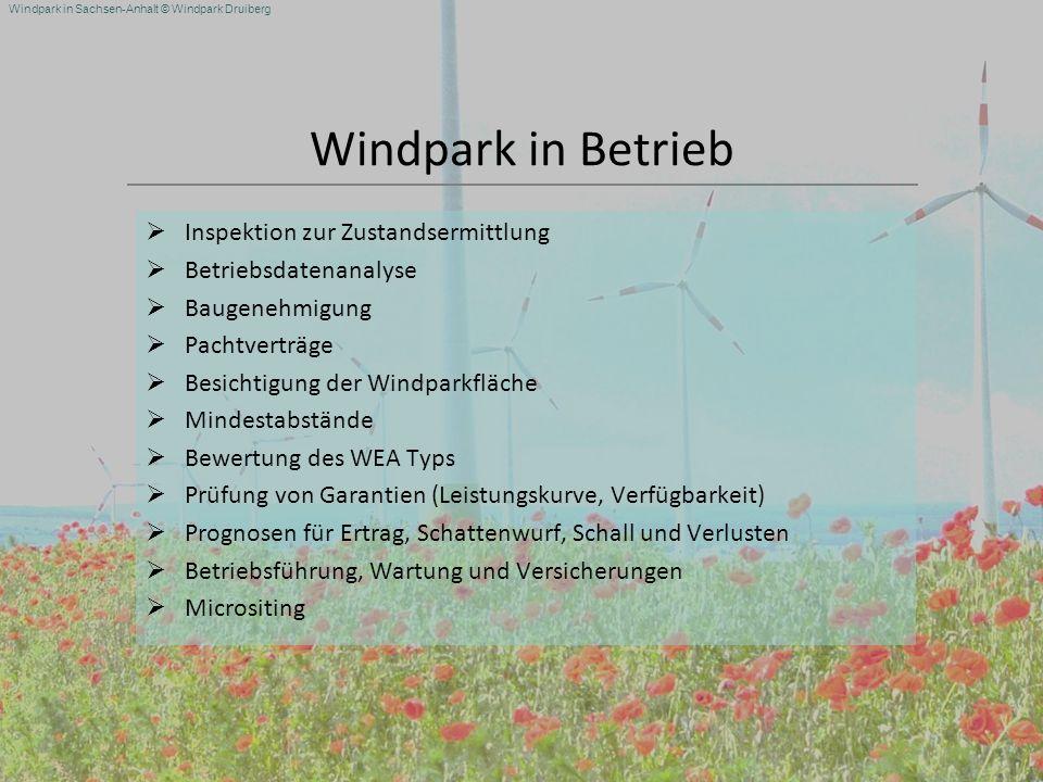 Windpark in Sachsen-Anhalt © Windpark Druiberg Windpark in Betrieb Inspektion zur Zustandsermittlung Betriebsdatenanalyse Baugenehmigung Pachtverträge