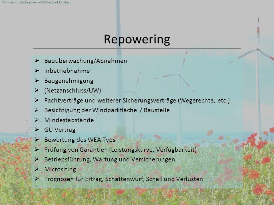Windpark in Sachsen-Anhalt © Windpark Druiberg Repowering Bauüberwachung/Abnahmen Inbetriebnahme Baugenehmigung (Netzanschluss/UW) Pachtverträge und w