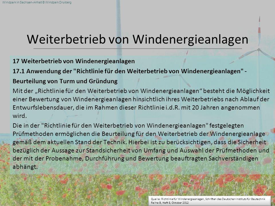 Windpark in Sachsen-Anhalt © Windpark Druiberg Weiterbetrieb von Windenergieanlagen 17 Weiterbetrieb von Windenergieanlagen 17.1 Anwendung der