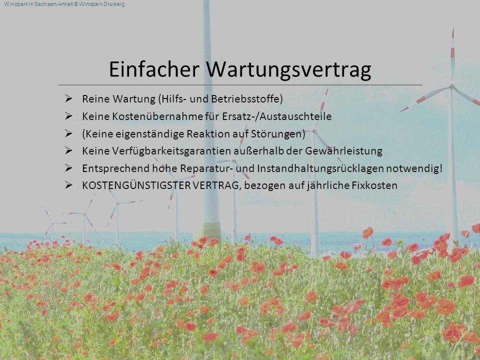 Windpark in Sachsen-Anhalt © Windpark Druiberg Einfacher Wartungsvertrag Reine Wartung (Hilfs- und Betriebsstoffe) Keine Kostenübernahme für Ersatz-/A