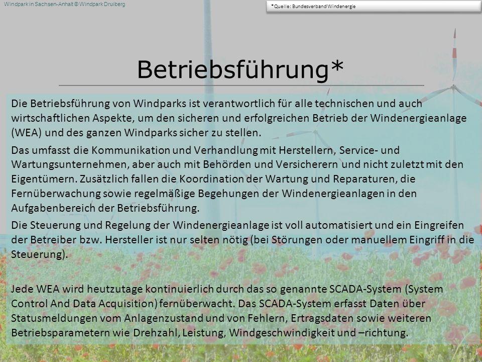 Windpark in Sachsen-Anhalt © Windpark Druiberg Betriebsführung* Die Betriebsführung von Windparks ist verantwortlich für alle technischen und auch wir