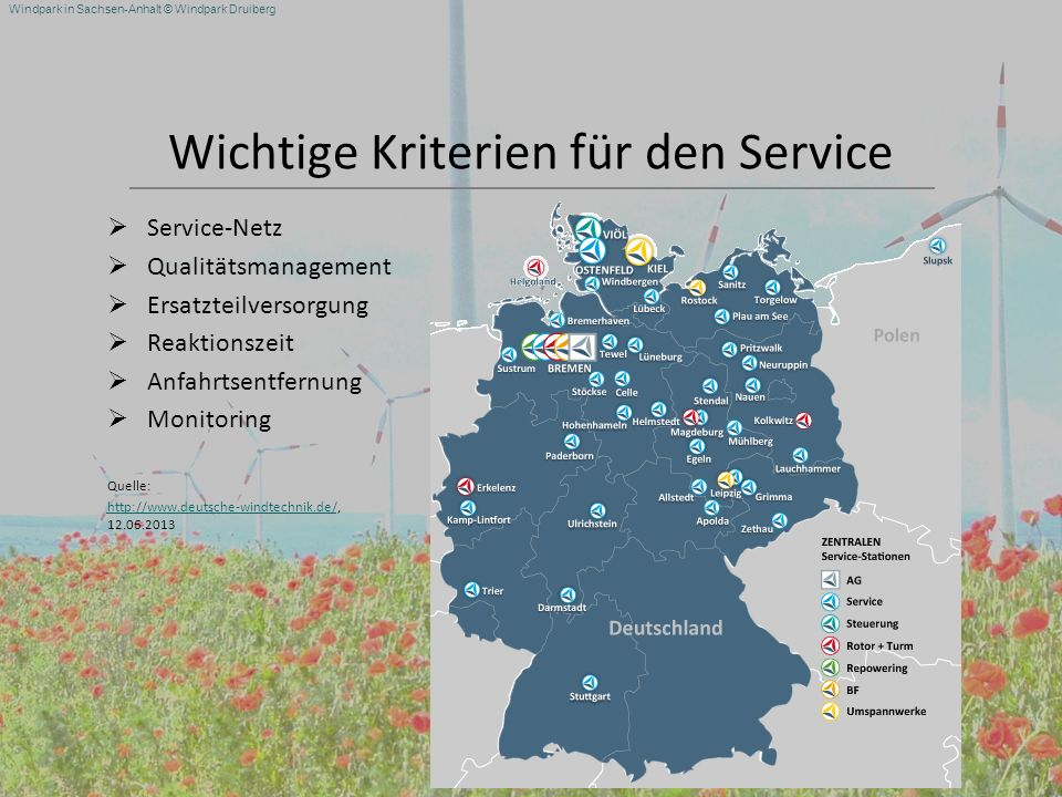 Windpark in Sachsen-Anhalt © Windpark Druiberg Wichtige Kriterien für den Service Service-Netz Qualitätsmanagement Ersatzteilversorgung Reaktionszeit