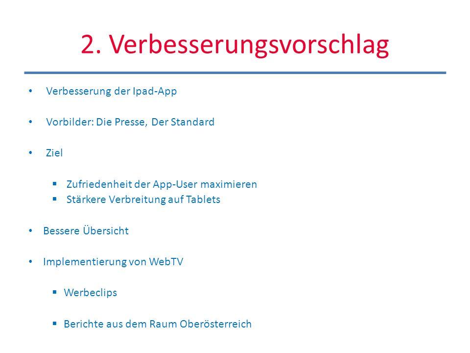 2. Verbesserungsvorschlag Verbesserung der Ipad-App Vorbilder: Die Presse, Der Standard Ziel Zufriedenheit der App-User maximieren Stärkere Verbreitun