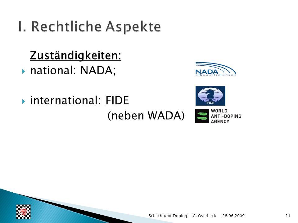 Zuständigkeiten: national: NADA; international: FIDE (neben WADA) 11Schach und Doping C. Overbeck 28.06.2009